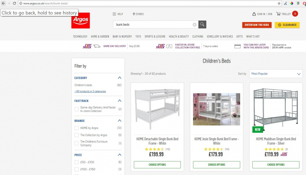 Argos indexed search pages