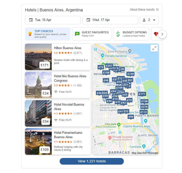 Google's hotel finder in the SERPS