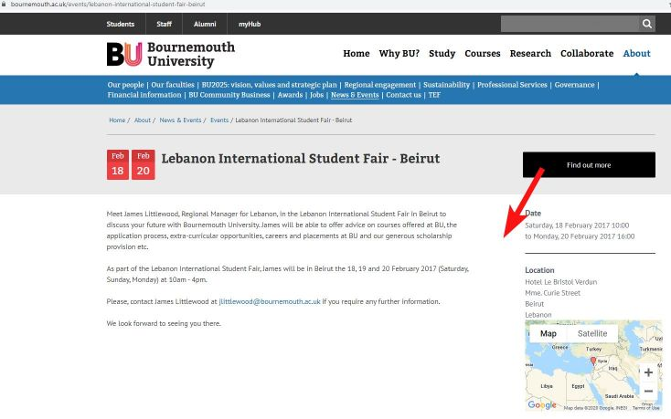 Bournemouth university page