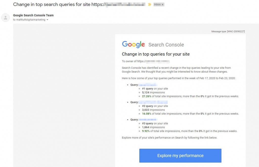 Change in top search queries search console