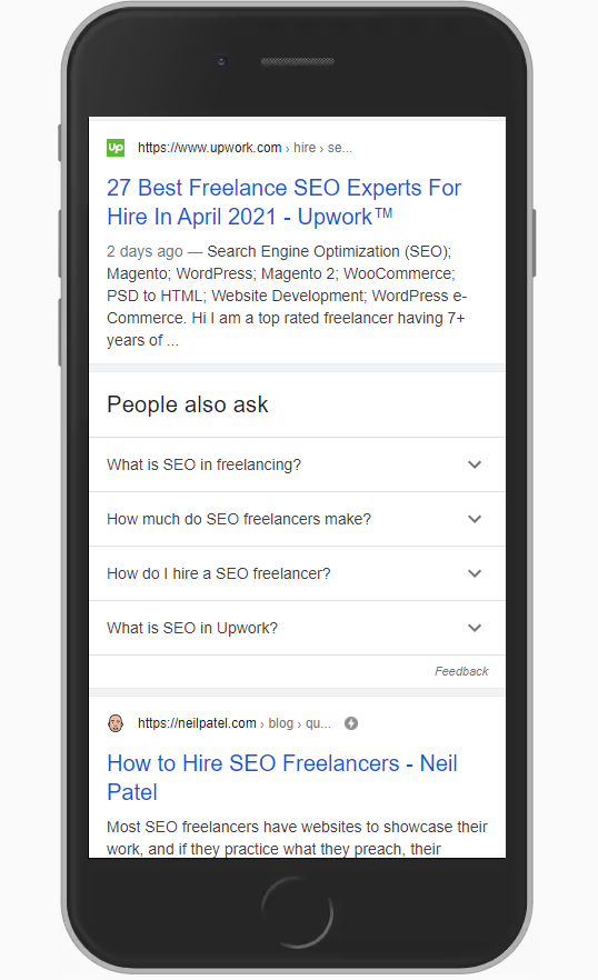 SEO freelancer query Google