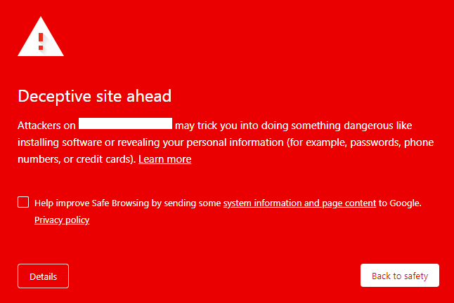 Google warning deceptive site ahead