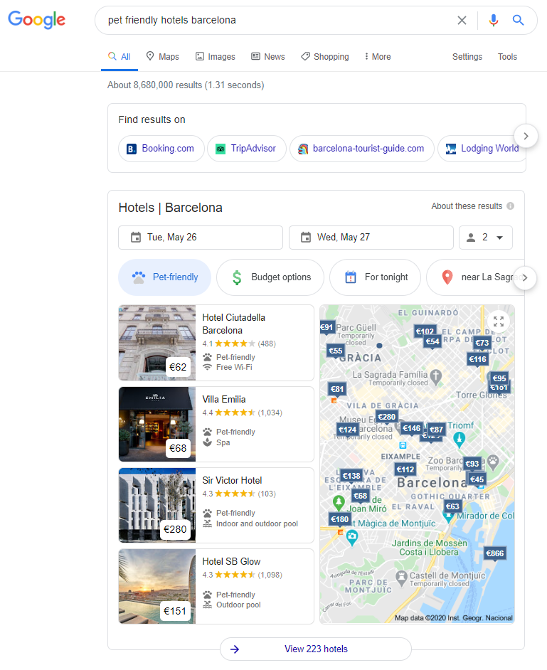 Google's hotel map pack