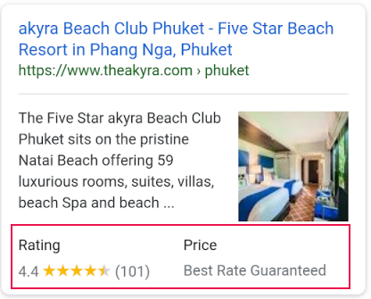 Star ratings for hotels in Google