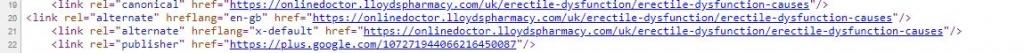 Hreflang spam pharma content