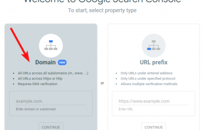Property types in Search Console