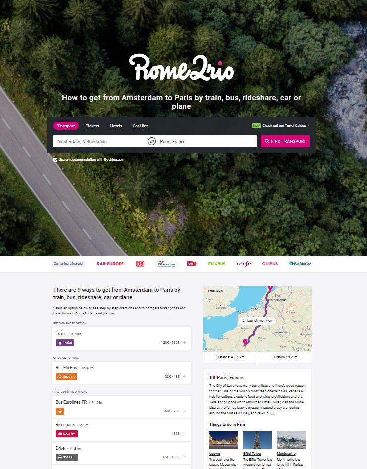 Popular journey on Rome2Rio
