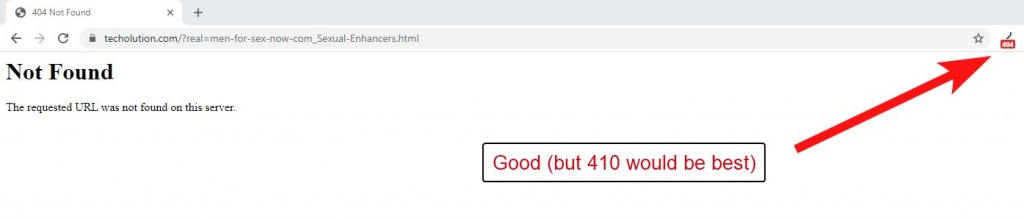 404 status for spam content