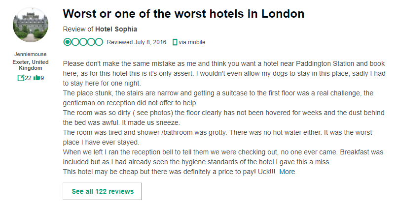 Worst hotels Tripadvisor